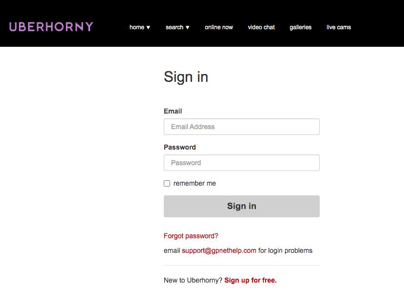 uberhorny signup
